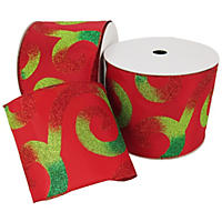 "Member's Mark Premium Wired Ribbon,  Large Swirls in Emerald, Red and Lime Glitter on Red Satin, 5"" Wide (50 yards total, 2 pk.)"