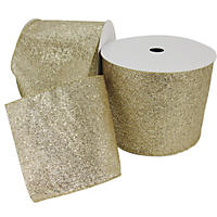 "Member's Mark Premium Wired Ribbon,  Champagne Glitter on Champagne Sheer, 5"" Wide (50 yards total, 2 pk.)"