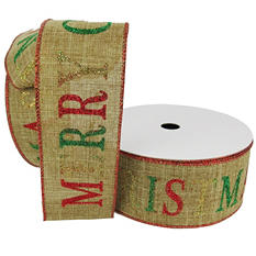 "Member's Mark Premium Wired Ribbon,  MERRY CHRISTMAS in Emerald, Red and Gold Glitter on Natural Linen, 2.5"" Wide (100 yards total, 2 pk.)"