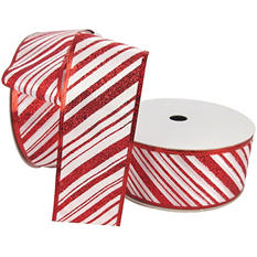 "Member's Mark Premium Wired Ribbon,  Candy Cane Stripes in Red Glitter on White Satin, 2.5"" Wide (100 yards total, 2 pk.)"