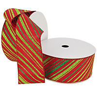 "Member's Mark Premium Wired Ribbon,  Candy Cane Stripes in Lime and Emerald on Red Satin, 2.5"" Wide (100 yards total, 2 pk.)"