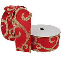 "Member's Mark Premium Wired Ribbon,  Swirls in Gold Glitter on Red Satin, 2.5"" Wide (100 yards total, 2 pk.)"