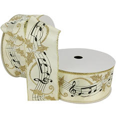 "Member's Mark Premium Wired Ribbon,  Music Notes Painted in Black with Silver Berries and Holly Leaves in Champagne Glitter on Ivory Satin, 2.5"" Wide (100 yards total, 2 pk.)"