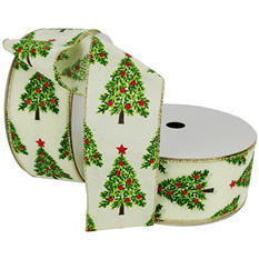"Member's Mark Premium Wired Ribbon,  Trees Painted in Emerald and Pear Green with Red Ornament Ball Accents on Ivory Linen, 2.5"" Wide (100 yards total, 2 pk.)"