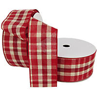 "Member's Mark Premium Wired Ribbon,  Plaid Woven in Red and Ivory, 2.5"" Wide (100 yards total, 2 pk.)"