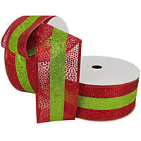 "Member's Mark Premium Wired Ribbon,  Center Stripe in Lime Glitter on Red Sheer with Dotted Red Glitter Accent, 2.5"" Wide (100 yards total, 2 pk.)"
