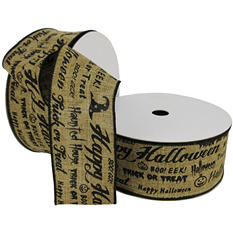 "Member's Mark Premium Wired Ribbon,  Halloween Script and Icons in Black Paint on Natural Linen, 2.5"" Wide (100 yards total, 2 pk.)"