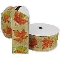 "Member's Mark Premium Wired Ribbon,  Fall Leaves in Orange and Green Paint with Gold Glitter Accents on Natural Linen, 2.5"" Wide (100 yards total, 2 pk.)"