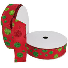 "Member's Mark Premium Wired Ribbon,  Dots in Lime, Emerald and Red Glitter on Red Satin, 1.5"" Wide (100 yards total, 2 pk.)"