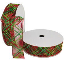 "Member's Mark Premium Wired Ribbon,  Plaid Pattern in Emerald and Lime on Red Sheer, 1.5"" Wide (100 yards total, 2 pk.)"