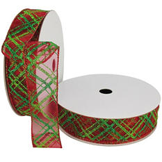 """Member's Mark Premium Wired Ribbon, Plaid Pattern in Emerald and Lime on Red Sheer, 1.5"""" Wide (100 yards total, 2 pk.)"""