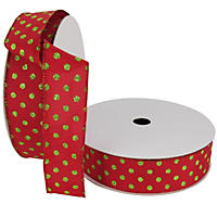 "Member's Mark Premium Wired Ribbon,  Mini Dots in Pear Green Glitter on Red Satin, 1.5"" Wide (100 yards total, 2 pk.)"