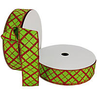 "Member's Mark Premium Wired Ribbon,  Plaid Pattern in Red Glitter on Lime Satin, 1.5"" Wide (100 yards total, 2 pk.)"