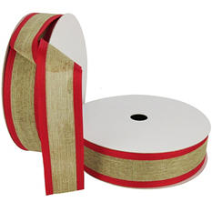 "Member's Mark Premium Wired Ribbon,  Natural Linen, Red Pressed Edge, 1.5"" Wide (100 yards total, 2 pk.)"