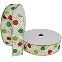 "Member's Mark Premium Wired Ribbon,  Newsprint with Dots in Lime, Emerald and Red Glitter on Ivory Satin, 1.5"" Wide (100 yards total, 2 pk.)"