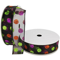 "Member's Mark Premium Wired Ribbon,  Halloween Dots in Purple, Lime and Orange Glitter on Black Sheer, 1.5"" Wide (100 yards total, 2 pk.)"