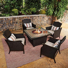 Member's Mark Heritage Fire Pit Chat Set with Sunbrella Fabric by Agio