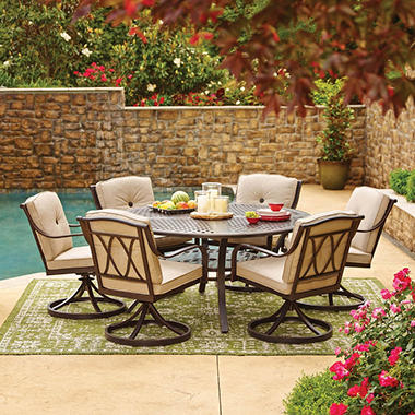 Member's Mark Miller's Creek Round Sunbrella Dining Set ...
