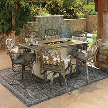 Member's Mark Waterton Sunbrella Fire Bar Height Dining Set