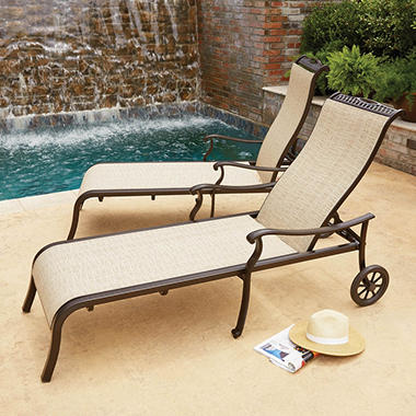 Member 39 s mark sling chaise with wheels 2 pack sam 39 s club for Agio sling chaise lounge