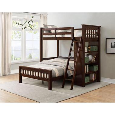 Members Mark Gabriel Twin Over Full Loft Bunk Bed With Bookshelf
