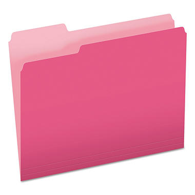 Pendaflex - Two-Tone File Folders, 1/3 Cut Top Tab, Letter, Pink/Light Pink - 100 Pack