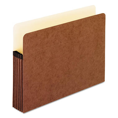 Pendaflex - 5 1/4 Inch Expansion File Pocket, Manila/Red Fiber, Letter - 10/Box