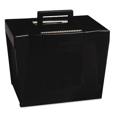 "Pendaflex - Portable File Storage Box, Letter, Plastic, 13 1/2"" x 10 1/4"" x 10 7/8"" - Black"