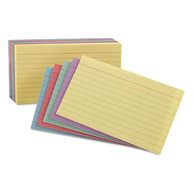 "Oxford - Index Cards, Ruled, 4 x 6"", Assorted Colors - 100 Cards"