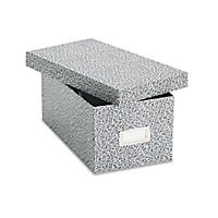 Oxford - Card File with Lift-Off Lid Holds 1,200 4 x 6 Cards -  Black/White Paper Board