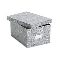 Oxford - Card File with Lift-Off Lid Holds 1,200 5 x 8 Cards -  Black/White Paper Board