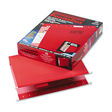 "Pendaflex - Reinforced 2"" Extra Capacity Hanging Folders, Letter, Red - 25/Box"