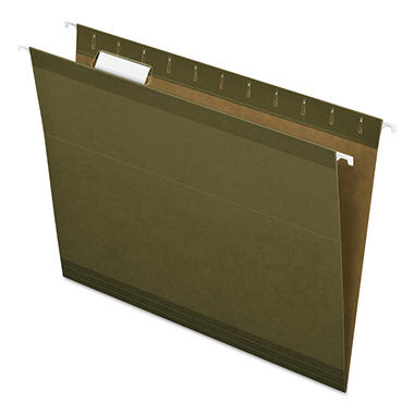 Pendaflex - Reinforced Hanging File Folders, 1/5 Tab, Kraft, Letter, Standard Green - 25 Pack