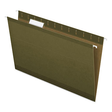 Pendaflex - Reinforced Hanging File Folders, 1/5 Tab, Kraft, Legal, Standard Green - 25/Box