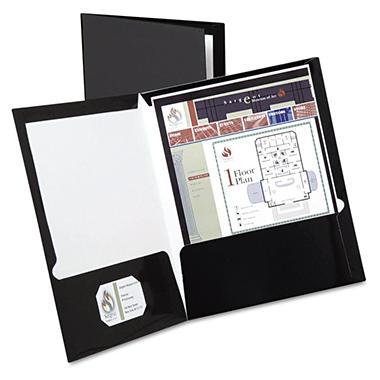 Oxford High Gloss Laminated Paperboard Folder, 100-Sheet Capacity, 25/Box