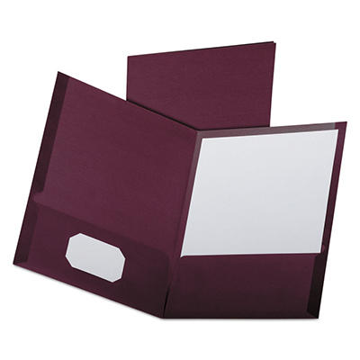 Oxford - Linen Finish Twin Pocket Folders, Letter, Burgundy - 25/Box