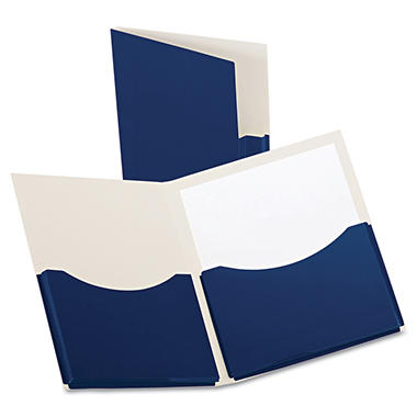 Oxford® Double Stuff Gusseted Two-Pocket Laminated Paper Folder -  200-Sheet Capacity - Navy