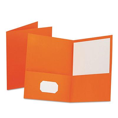 Oxford - Twin-Pocket Folder, Embossed Leather Grain Paper -  Orange