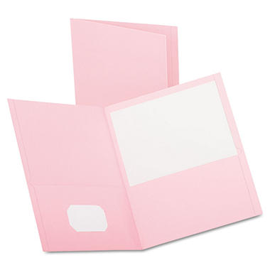 Oxford - Twin-Pocket Portfolio, Embossed Leather Grain Paper, Pink - 25/Box