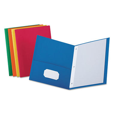 Oxford - Twin Pocket Portfolios w/Fasteners, Assorted Colors - 25 Count