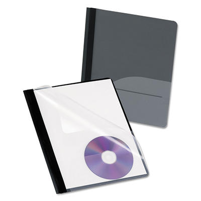Oxford - Clear Front Report Cover, CD Pocket, 3 Fasteners, Letter, Black -  25/Box
