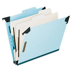 Pendaflex 6-Section Pressboard Hanging Classification Folder, Light Blue (Letter)