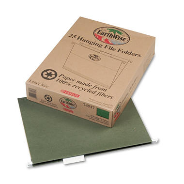 Pendaflex - Earthwise 100% Recycled Paper Hanging Folders, Letter, Standard Green - 25/Box