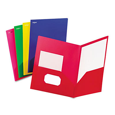Oxford - Fashion PolyPort Twin-Pocket Portfolio, Polypropylene, Assorted -  25/Box