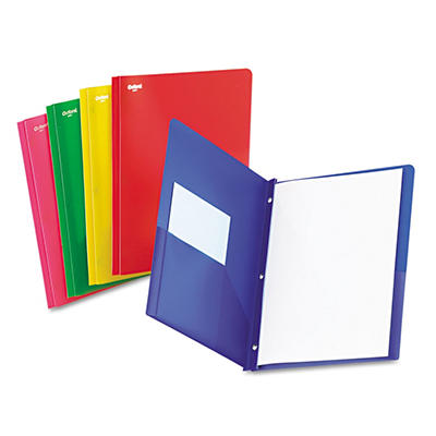 "Oxford Two-Pocket Portfolio, Tang Fastener, 1/2"" Capacity, Assorted Colors, 25 per Box"