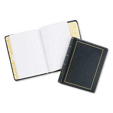 Wilson Jones - Looseleaf Minute Book, Black Faux Leather Cover, 125 Pages - 8 1/2