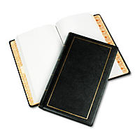 Wilson Jones - Looseleaf Minute Book, Black Leather-Like Cover, 125 Pages (250 Cap) -  8 1/2 x 14