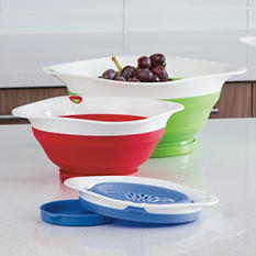 Prepworks 3-Piece Collapsible Colander Set with Drip-Catching Base