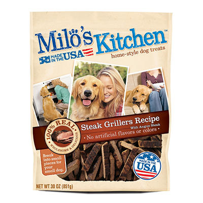 Milo's Kitchen Steak Grillers Beef Recipe with Angus Steak Dog Treats, 30 oz.