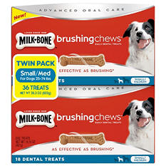 Milk-Bone Brushing Chews, Small/Medium Twin Pack (36 Bones, 28.3 oz.)